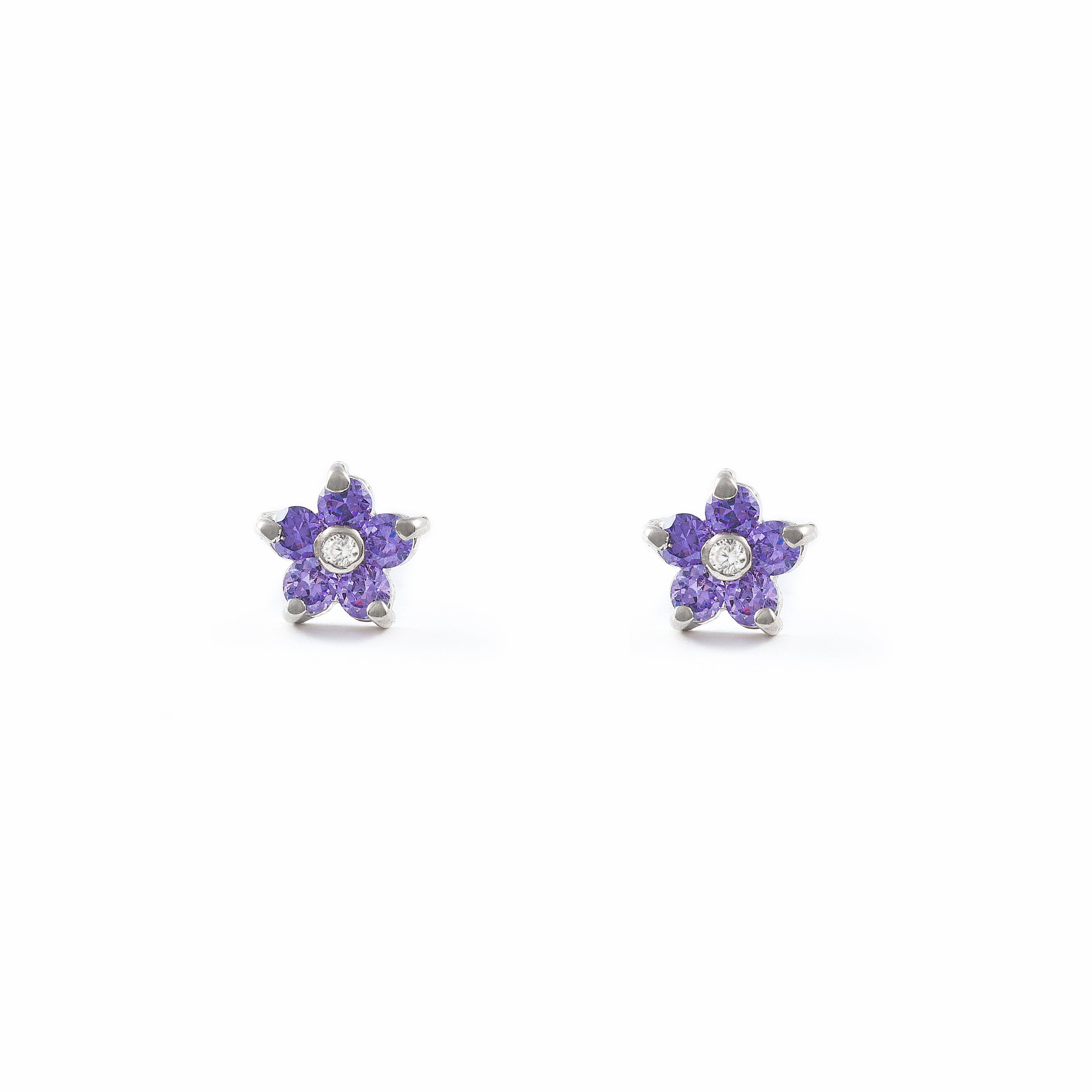 Details About 9ct White Gold Flower Children S Amethyst Earrings 8400p9k Ob Amatista