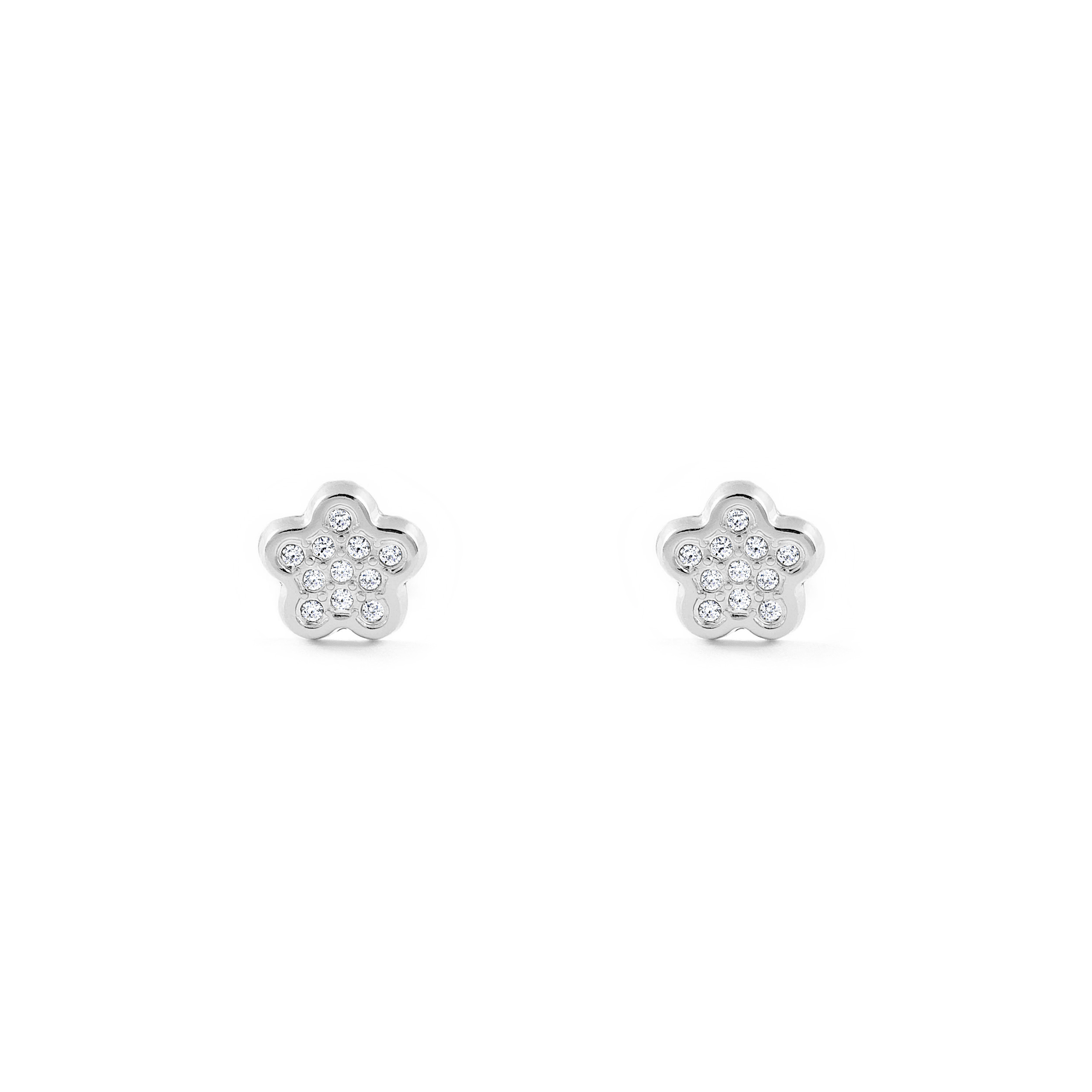 Details About 18ct White Gold Flower Baby Earrings T1897p